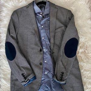 Men's black and white plaid blazer from Zara.